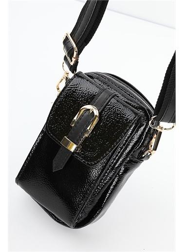 Madamra  Kadın Telefon Bölmeli Çapraz Çanta Siyah